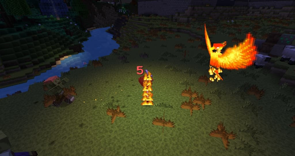 Summoned Phoenix fighting Zombies