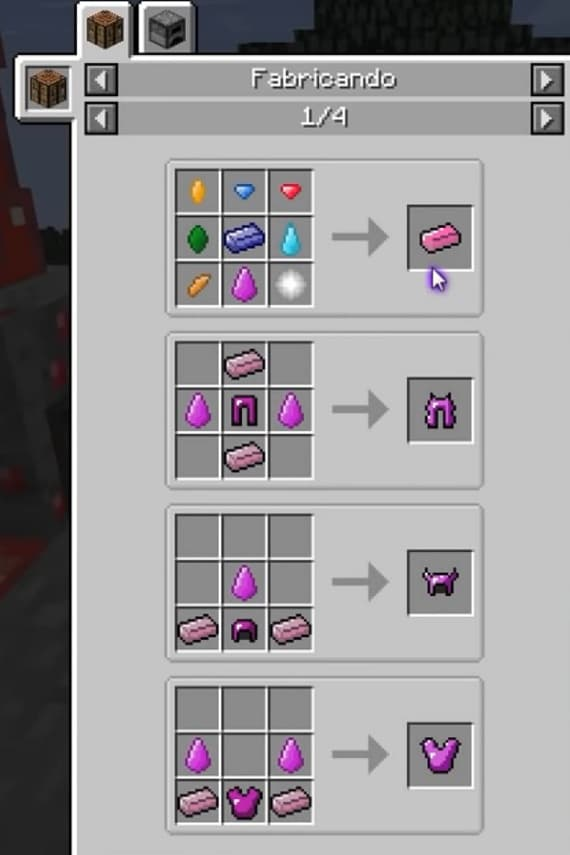 Extended Items and Ores Mod crafting